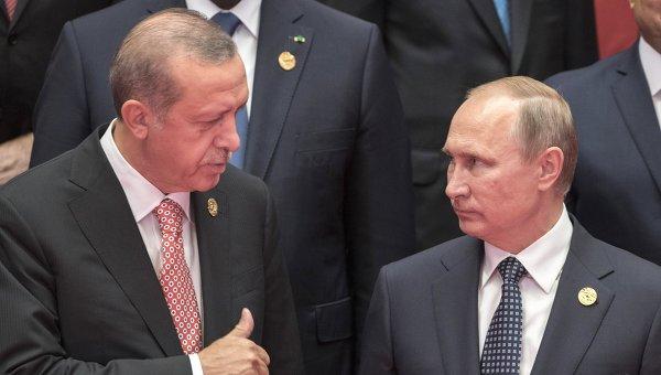 Президент РФ Владимир Путин (справа) и президент Турции Реджеп Эрдоган