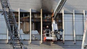 Последствия пожара в офисе телеканала Интер в Киеве
