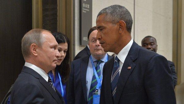 Президент РФ Владимир Путин (слева) и президент США Барак Обама. Архивное фото