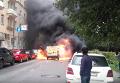 Появилось видео горящей инкассаторской машины после налета в Москве. Видео