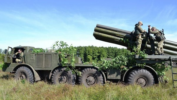 Учения артиллеристов в зоне АТО