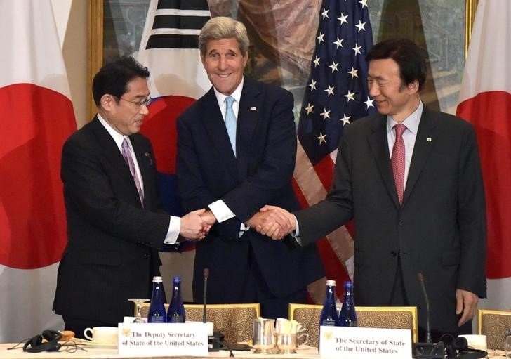 Госсекретарь США Джон Керри на встрече с министрами иностранных дел, Южной Кореи в отеле Lotte New York Pal в США.