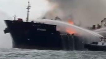 Мощный пожар на нефтяном танкере у берегов Мексики. Видео
