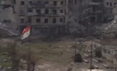 Сирийский флаг поднят над Цитаделью Алеппо. Видео