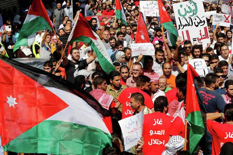 В столице Иордании состоялась демонстрация протеста против недавно одобренного соглашения о покупке израильского природного газа Хашимитским королевством.