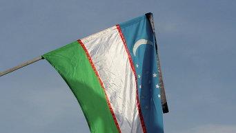 Флаг Узбекистана с черной ленточкой