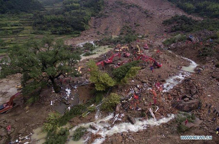 Число погибших схода оползня впровинции Чжэцзян выросло до 18 человек