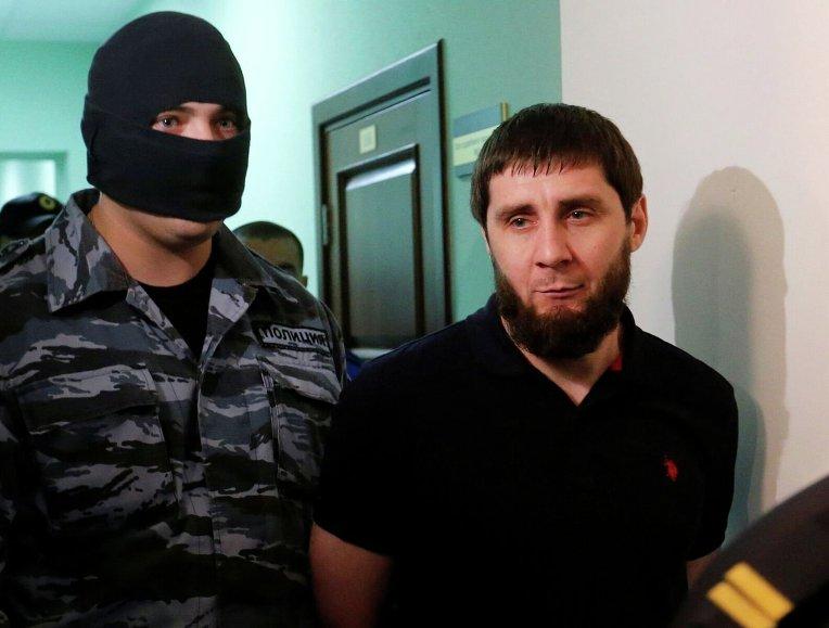 Предполагаемый убийца Заур Дадаев во время судебного заседания по делу об убийстве Бориса Немцова