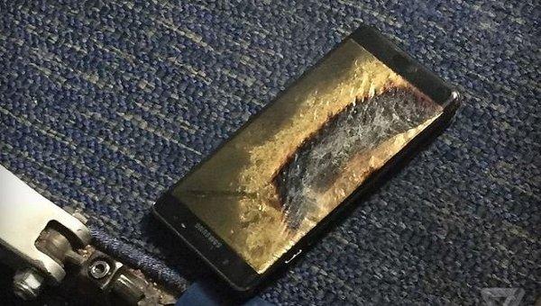 Сгоревший смартфон Samsung Galaxy Note 7