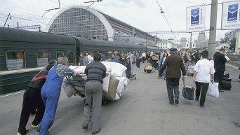 На платформе Киевского вокзала в Москве
