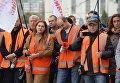 Акция протеста железнодорожников под Мининфраструктуры