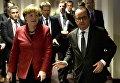 Президент Франции Франсуа Олланд и канцлер Германии Ангела Меркель во время саммита лидеров Европейского Союза в Брюсселе