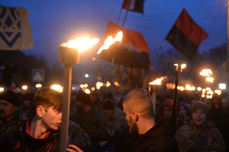 Марш нации, организованный Азовом в Киеве 14 октября 2016 года