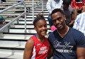 Трехкратный чемпион мира по легкой атлетике в беге на спринтерские дистанции Тайсон Гэй и его дочь Тринити Гэй