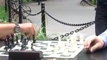 Чемпион мира по шахматам инкогнито сыграл с любителями в парке