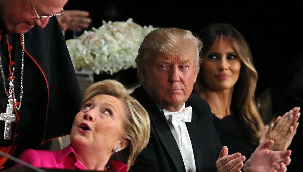 Клинтон и Трамп на совместном обеде. Архивное фото