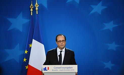 Президент Франции Франсуа Олланд выступает на саммите Европейского Союза в Брюсселе