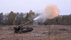 Тактические учения с боевой стрельбой самоходных и гаубичных артиллерийских подразделений ВСУ