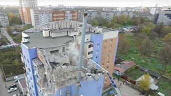 Разрушенная взрывом газа многоэтажка в Рязани с высоты птичьего полета. Видео