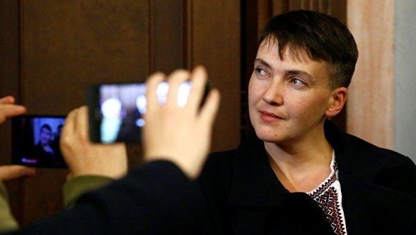 Надежда Савченко после рассмотрения Верховным судом РФ приговора Николаю Карпюку и Станиславу Клыху