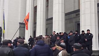 Бунт чернобыльцев под Радой из-за пенсий. Видео