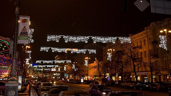 Новогодняя иллюминация в Киеве