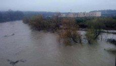 Поднятие уровня воды в реке Уж на Закарпатье