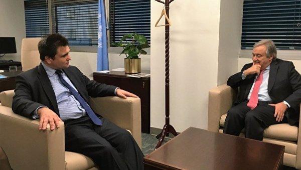 П.Климкин обсудил дальнейшее сотрудничество сновоизбранным Генсеком ООН