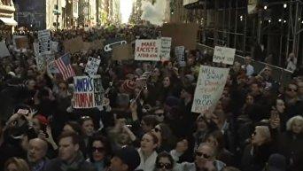 Массовые протесты против Трампа в Нью-Йорке. Видео