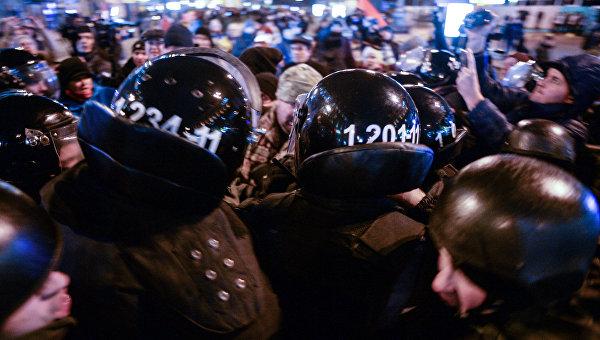 Потасовка во время вече на Майдане Незалежности 21 ноября 2016 года