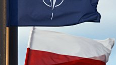 Государственный флаг Польши и флаг Североатлантического Альянса