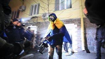 На месте погрома офиса Медведчука в Киеве
