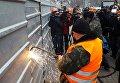 Демонтаж надстройки на Доме профсоюзов в Киеве