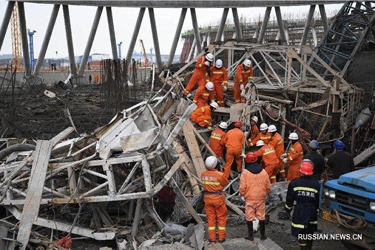 Обрушение на строящейся электростанции в китайской провинции Цзянси