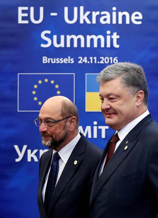 Мартин Шульц и Петр Порошенко на саммите Украина-ЕС