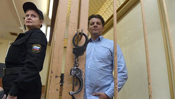 Украинский журналист Роман Сущенко во время заседания суда в России