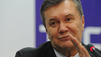 Бывший президент Украины Виктор Янукович на пресс-конференции в Ростове-на-Дону