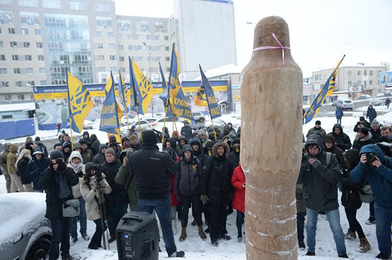 Вот вам, а не лес!. Протест под представительством ЕС в Киеве