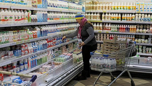 Молочная продукция в одном из магазинов Киева
