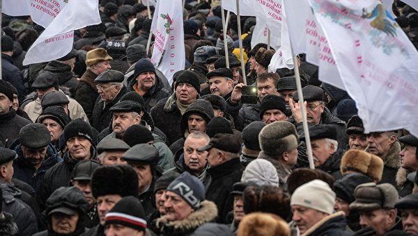 Пожилые люди Украины проводят митинг вКиеве
