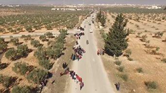 Эвакуация мирных жителей из Восточного Алеппо с высоты птичьего полета. Видео