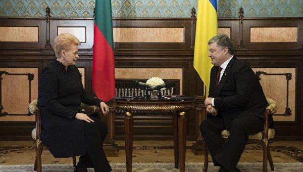 Президент Украины Петр Порошенко и президентом Литовской Республики Даля Грибаускайте
