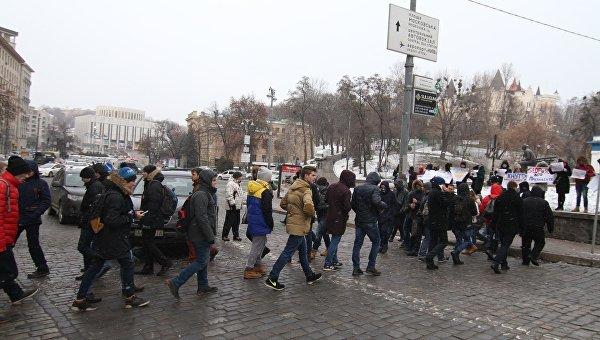 Студенты перекрыли улицу Грушевского в Киеве
