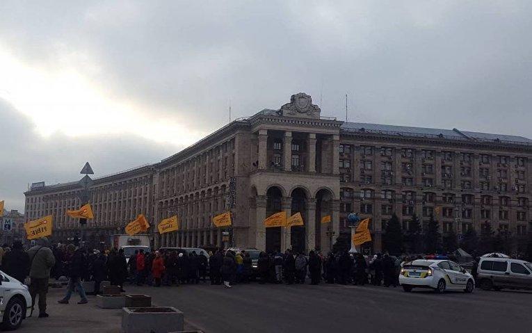 Перекрытие Крещатика вкладчиками банка Михайловский