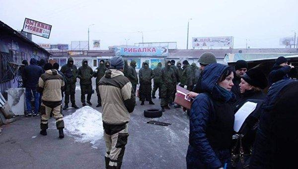 Снос строительного рынка на ст.м. Харьковская
