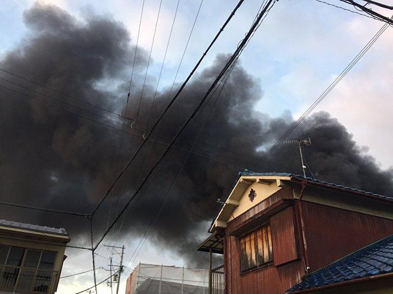 Пожар на заводе в Японии