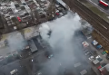 Пожар на киевском рынке секонд-хенда с высоты птичьего полета. Видео
