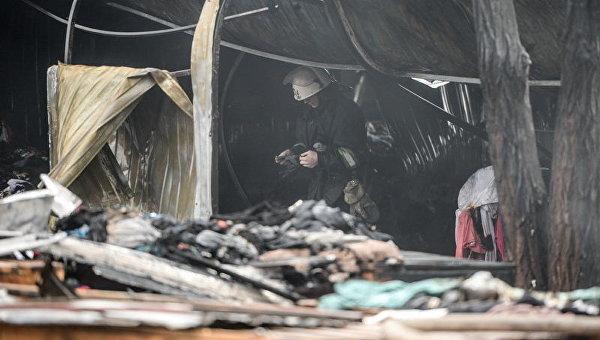 Пожар на рынке в Киеве 25 декабря 2016 года