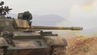 Наступление сирийской армии на позиции ан-Нусры под Дамаском. Видео