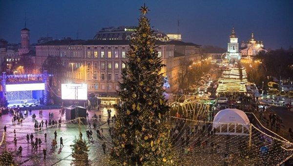 Новогодняя елка на Софийской площади в Киеве. Архивное фото